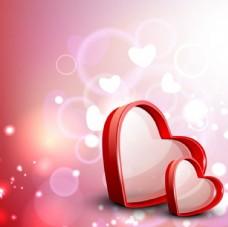 矢量浪漫情人节心形光晕背景
