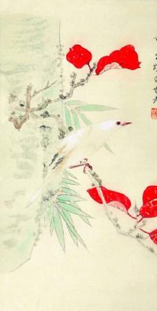 国画花鸟手绘文化墙