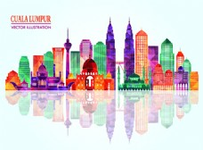 吉隆坡城市彩色模块剪影图