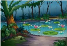 池塘荷花風景