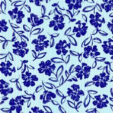 手绘蓝色花卉无缝背景