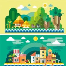 卡通可爱建筑物房屋及森林