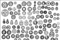 复古圆形铜钱图腾