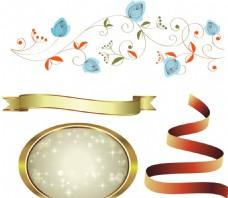花藤 丝带 金色圆形