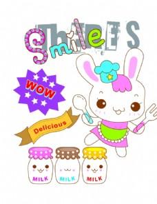 矢量卡通兔子印花图案