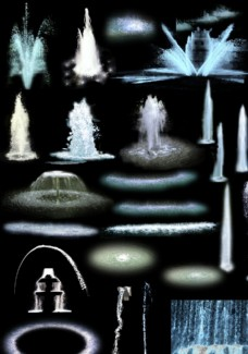 素材 水 喷泉 景观 效果图