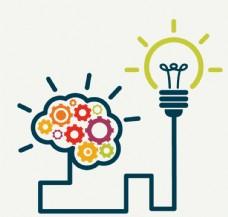 创意大脑与灯泡连线设计矢量图