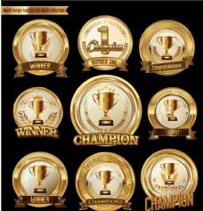 金色奖杯标签