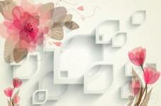 3D矢量花背景墙
