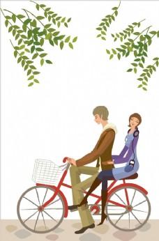骑自行车的情侣