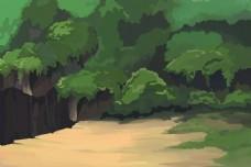 高山悬崖森林场景手绘插画