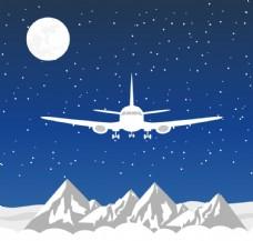 飞越雪山的飞机