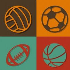 4款精致球类图标矢量素材