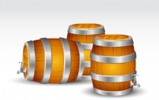 3款精美木制酒桶矢量素材