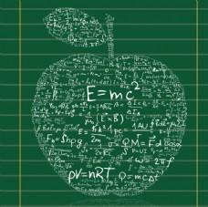 数学符号运算苹果形态背景