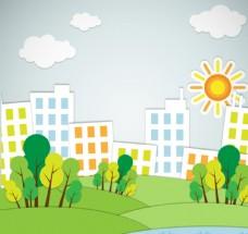 房屋绿树剪贴画