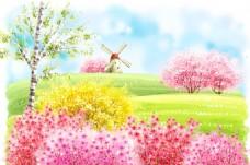 开满花的山坡和风车