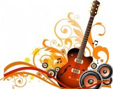 矢量吉他音乐花纹纹理