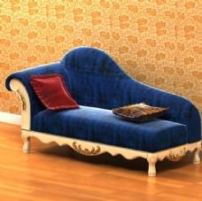欧式豪华蓝色贵妃椅