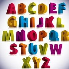 26个3D字母设计矢量图