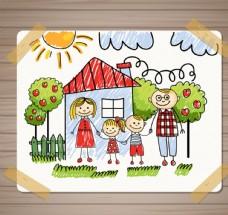 儿童画 家庭