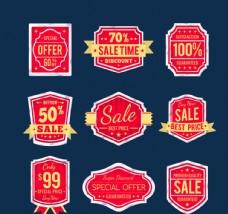 9款红色促销标签矢量素材
