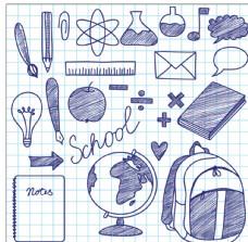 學校矢量油墨