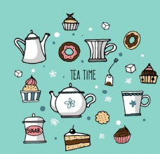 清新飲茶時間插畫矢量素材
