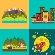 4款创意风景插画矢量素材