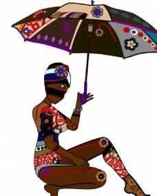 打着雨伞唯美图案美女