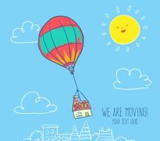 卡通 热气球和太阳 插画