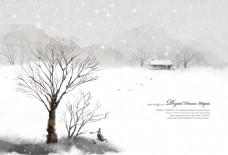 手绘冬天的树和房屋
