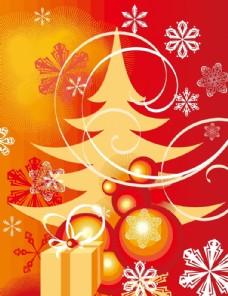 矢量圣诞树雪花背景底纹