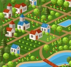 卡通绿色城镇矢量素材
