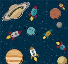卡通太空火箭插画矢量素材