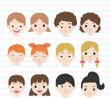 12款可爱儿童头像矢量素材