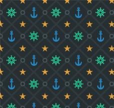 彩色航海元素无缝背景矢量图