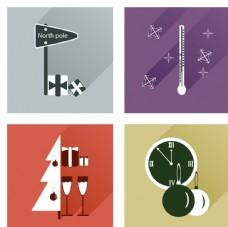 时钟温度计圣诞礼物元素图标