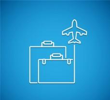 创意简洁行李箱和飞机矢量素材
