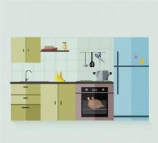 扁平化厨房设计矢量素材