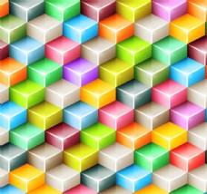 彩色立体台阶方块背景矢量图