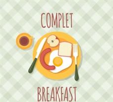 营养早餐俯视图矢量素材