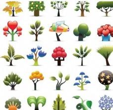 卡通创意爱心树果树合辑