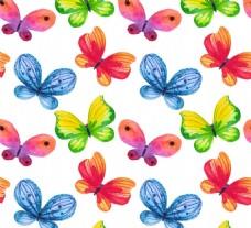水彩蝴蝶无缝背景矢量素材