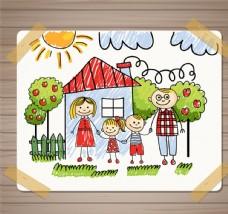 温馨家庭插画矢量素材