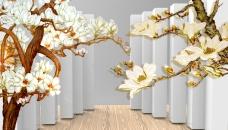 兰花彩雕背景墙