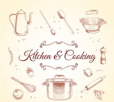 厨房用品和食材矢量素材