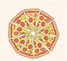 彩色披薩俯視圖矢量素材