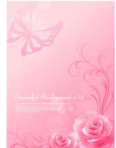 粉色浪漫温馨 蝶恋花背景