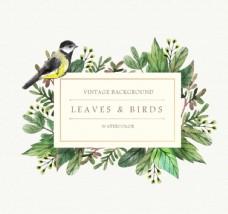 水彩花鸟卡片